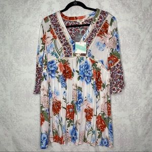 NWT Umgee floral boho oversized tunic top Sz Small